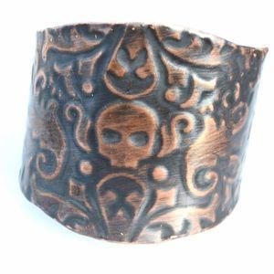 Embossed Skull Solid Copper Biker Cuff Bracelet